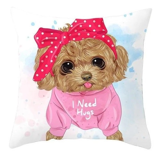 Image of a cushion cover in which a Toy Poodle is wearing a pink polka dotted headband