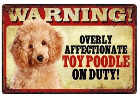 Image of a tin poster with a toy poodle and funny text which says 'Warning overly affectionate toy poodle on duty'