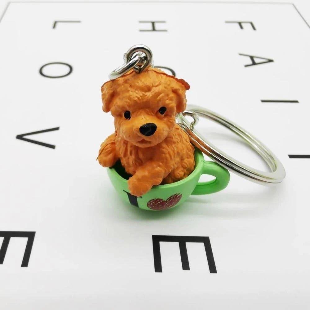 Image of a Toy poodle keychain featuring the cutest Toy Poodle design.