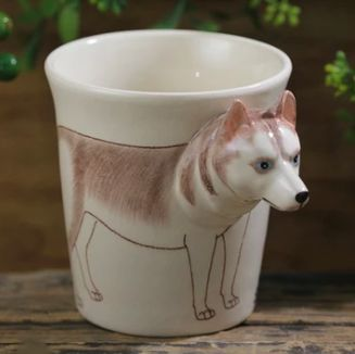 Image of a 3D coffee tea cup with a unique 3D White Husky design