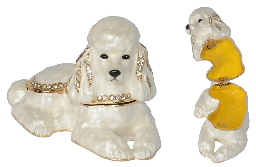 Image of a small jewellery box which can store rings, earrings, necklaces and bracelet in the shape of a white Poodle dog