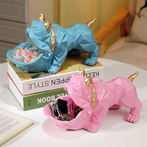 Image of two English Bulldog Statues in blue and pink color made of resin