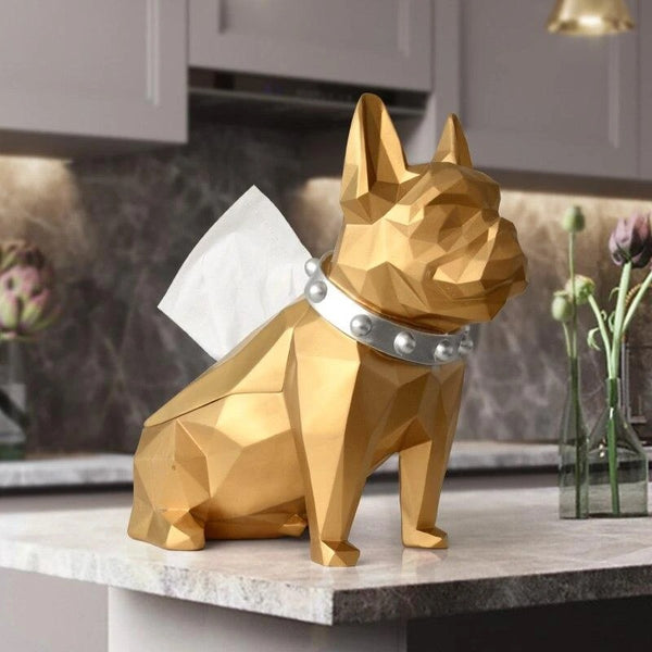 Image of a French Bulldog Statue or French Bulldog tissue holder in gold color made of resin