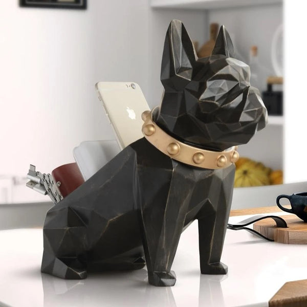 Image of a French Bulldog Statue in black color made of resin