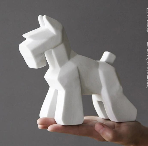 Image of a Schnauzer statue in white color made of ceramic