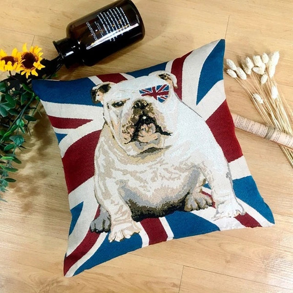 Image of an English Bulldog with union jack design cushion cover, made of polyester and cotton