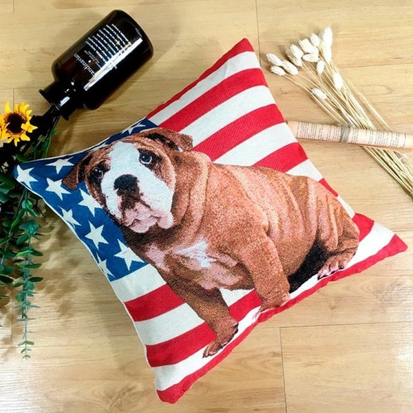 Image of an English Bulldog with american flag design cushion cover, made of polyester and cotton