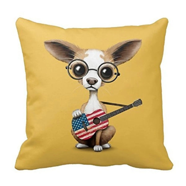Image of a chihuahua cushion cover holding an all-American guitar on a mustard background, made of Polyester / Cotton