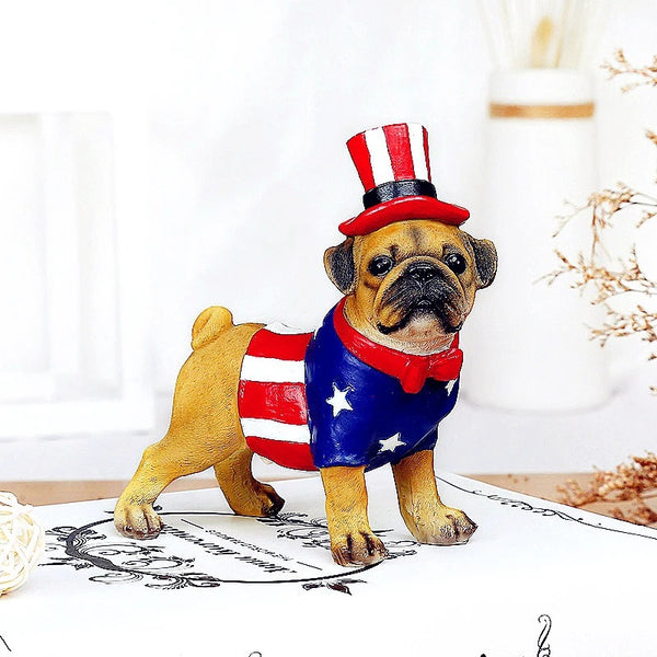 Image of a Pug Statue dressed in american flag waist coat and top hat, made of resin