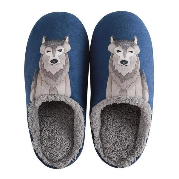Image of a pair of Husky indoor slippers in the shape of a husky, made of a Navy Blue cloth upper, soft plush lining and rubber sole