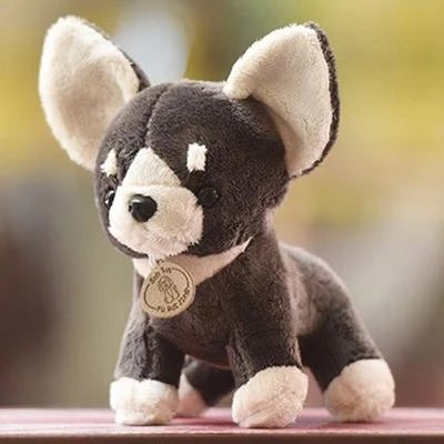 Image of a stuffed animal plush toy in the shape of a Chihuahua dog, made of plush cotton