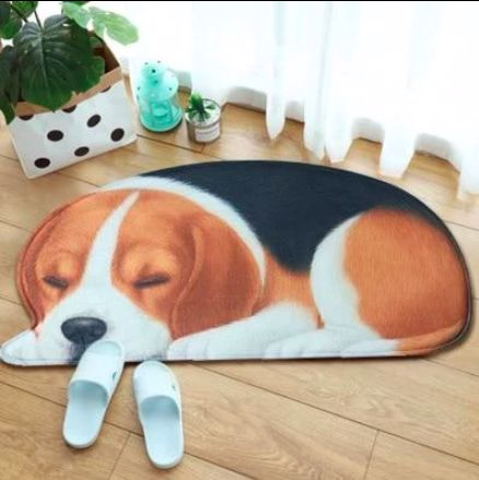 Image of a floor rug on a wooden floor in the shape of a sleeping Beagle dog