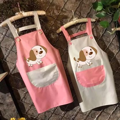 Image of two kitchen aprons on a wooden background with a cute Beagle design and inverted color large apron pocket