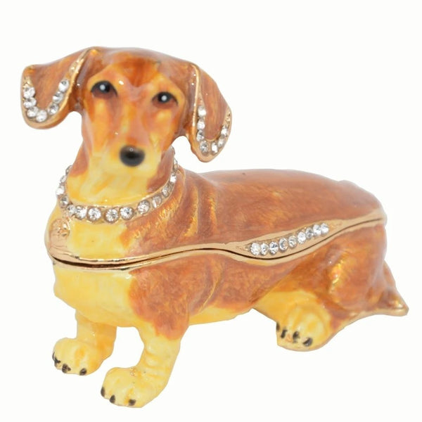 Image of a jewellery box figurine in the shape of a dachshund, made of metal