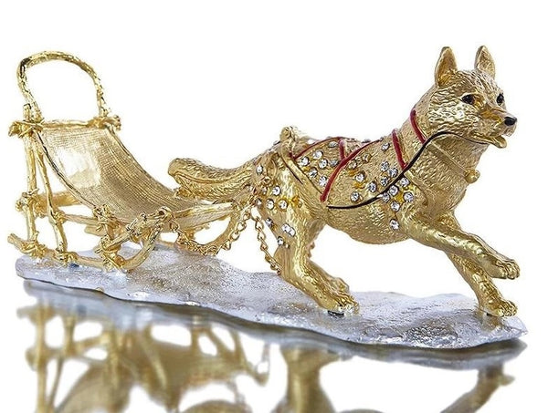 Image of a jewellery ornament box in the shape of a Siberian Husky