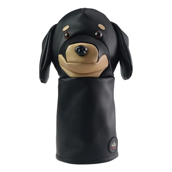 Image of a dachshund Golf Club Cover in black color made of PU leather