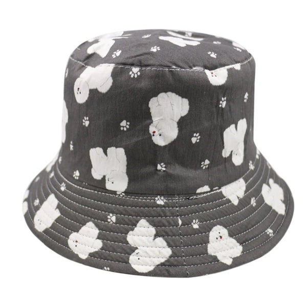 Image of a Bichon Frise bucket hat in black and white color, made of polyester