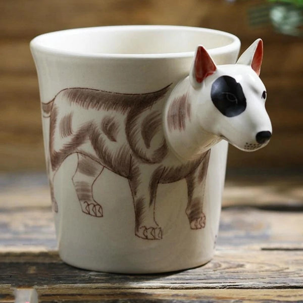 Image of a white coffee tea cup mug with a unique 3D Bull Terrier design