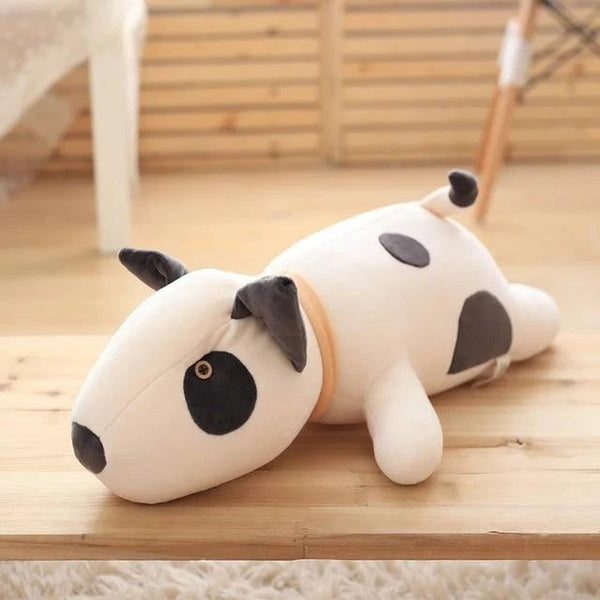 Image of a bull terrier stuffed animal plush toy in white color made of cotton