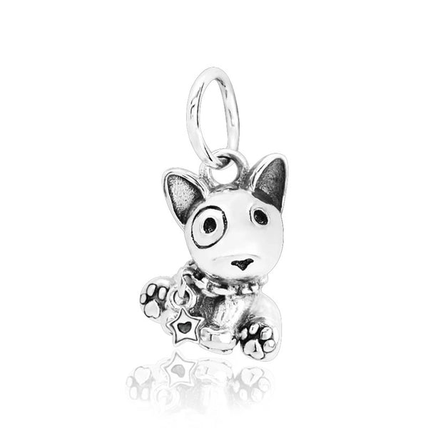 Image of a Bull Terrier silver pendant in the shape of a bull terrier made of 925 Sterling Silver