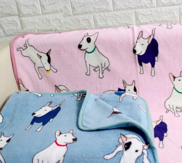 Image of two bull terrier fleece blanket in the color pink and blue made of 100% Polyester