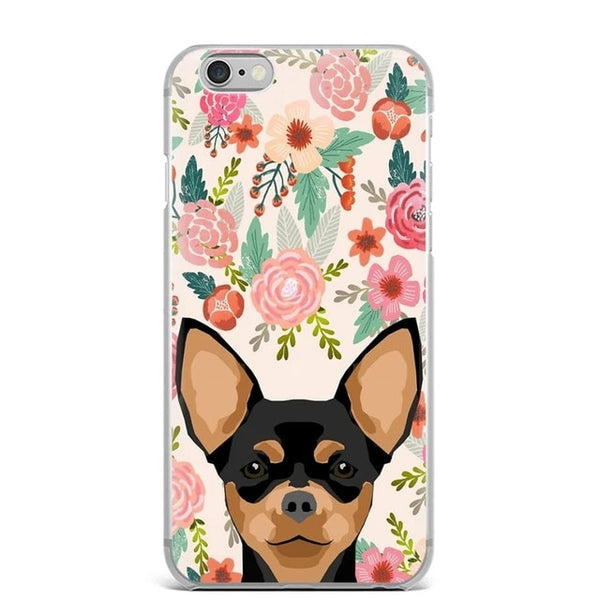 Image of a Chihuahua print in bloom iPhone case with a floral background, made of TPU Soft silicone