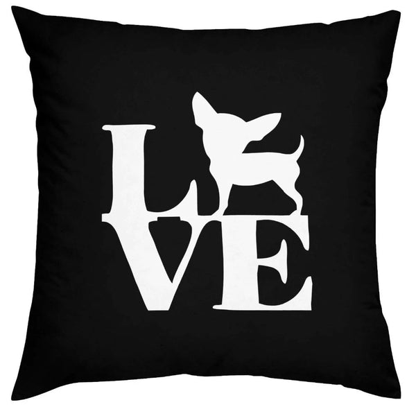 Image of a chihuahua love print cushion cover in white on a black background, made of Polyester / Cotton
