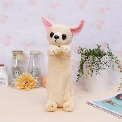 Image of a Chihuahua make up pouch in the shape of standing chihuahua, made of plush