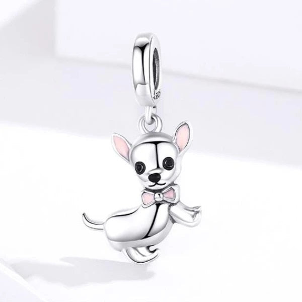 Image of a Chihuahua silver pendant in the shape of a chihuahua made of 925 Sterling Silver