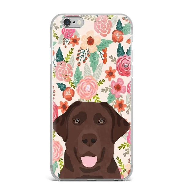 Image of a Chocolate Labrador in bloom iPhone case with a floral background, made of TPU Soft silicone