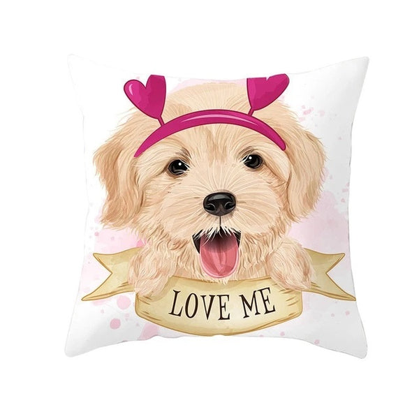 Image of a Golden Retriever wearing hairband cushion cover in golden retriever theme, made of polyester
