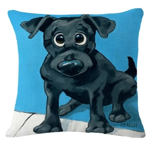 Image of a Black Labrador Retriever Cushion Cover in a blue background, made of Linen / Cotton