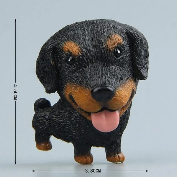 Image of a fridge magnet which looks like a cute smiling Dachshund with a super big face