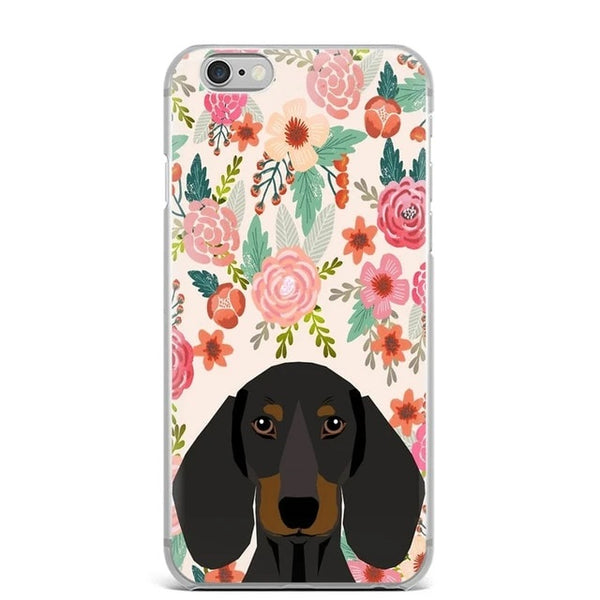 Image of a Dachshund in bloom iPhone case with a floral background, made of TPU Soft silicone