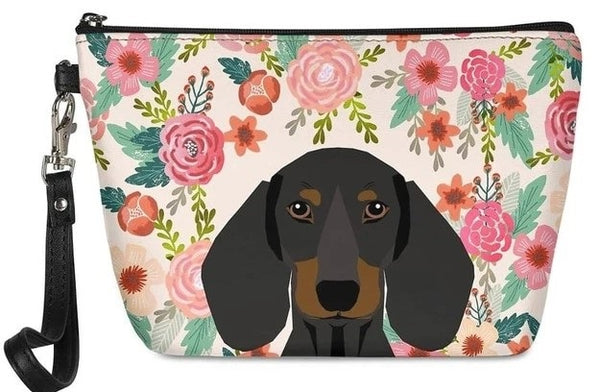 Image of a Dachshund in bloom makeup bag with a cutest dachshund print with a floral background, made of PU