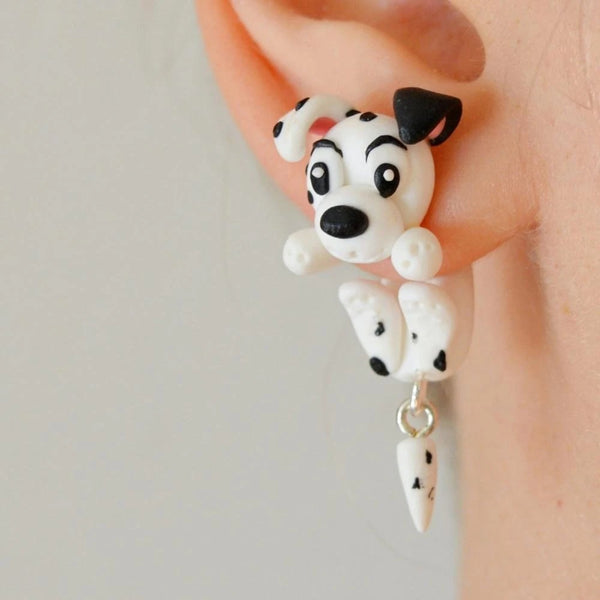 Image of a dalmatian polymer clay earrings in the shape of dangling dalmatian