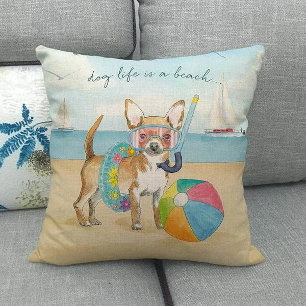 Image of a Chihuahua print cushion cover at the beach design, made of Linen / Cotton