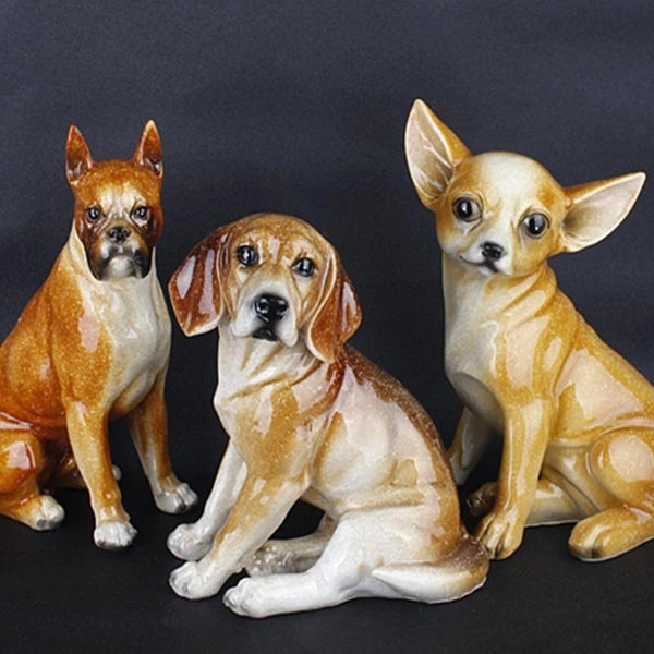 Image of Beagle Statue, Boxer Statue and Chihuahua Statue made of resin