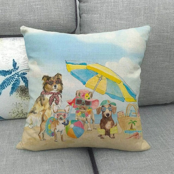 Image of four dogs, chihuahua, dachshund , french bulldog, rough collie printed cushion cover at the beach design, made of Linen / Cotton