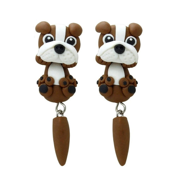 Image of English Bullding Earrings in brown color, handmade with polymer clay