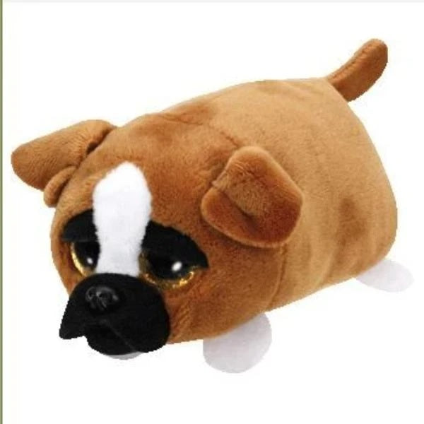 Image of an English Bulldog digital screen cleaner in brown color, made of stuffed and plush with cotton