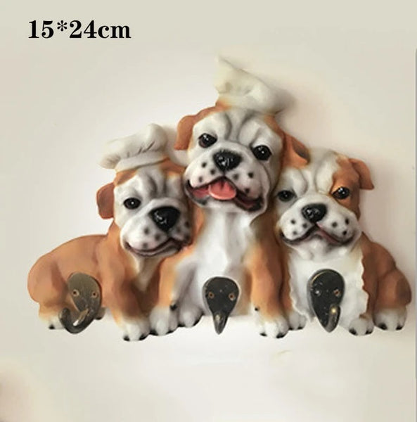 Image of three English Bulldog themed wall hooks made of high quality resin in different sizes