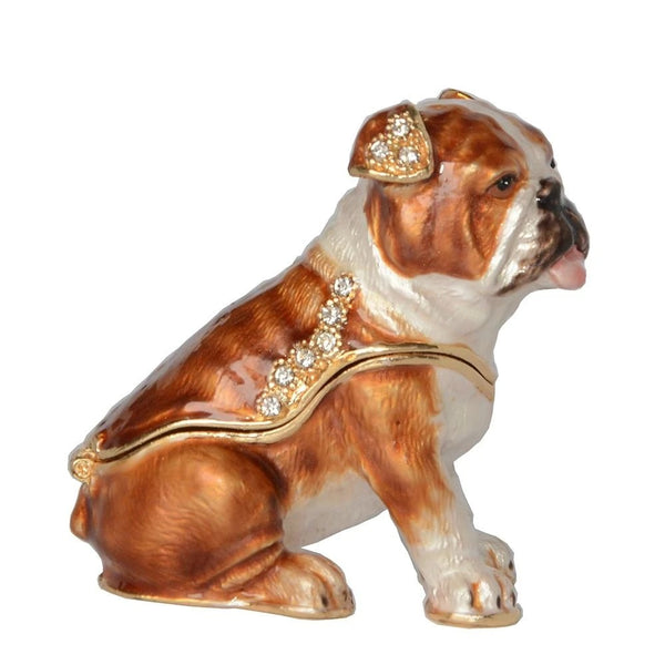 Image of an English Bulldog figurine jewellery box made of metal to put daily jewellery