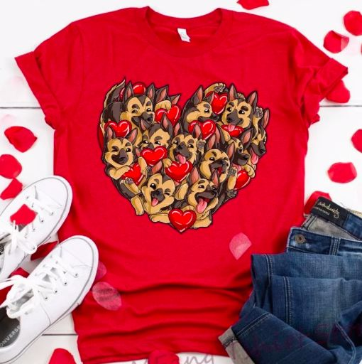 Image of a red t shirt with a super cute 'many German Shepherds inside a heart' design