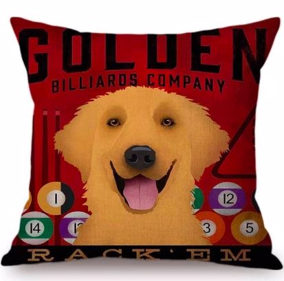 Image of a cushion cover with a Golden Retriever and billiards print