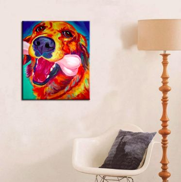 Image of a vibrant colorful golden retriever art painting on a wall in a house with a chair and table lamp on the side