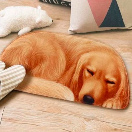 Image of a floor rug or doormat in the shape of a sleeping Golden Retriever