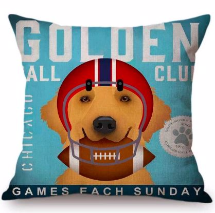 Image of a cushion cover with a Golden Retriever in an American football print