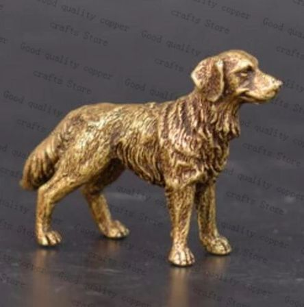 Image of a mini brass statue figurine in the shape of a standing Golden Retriever