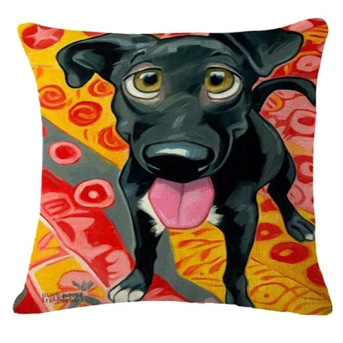 Image of a Black Labrador Retriever Cushion Cover in the cutest goofy design, made of Linen / Cotton